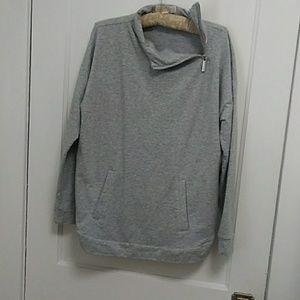 Michael Kors grey long sleeve zip turtleneck top